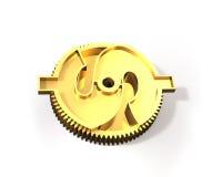 有美元标志的, 3D金黄齿轮例证 图库摄影
