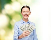 有美元现金金钱的女实业家 免版税库存图片