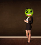 有美元的符号面带笑容面孔的妇女 库存图片