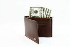 有美元的钱包 库存照片
