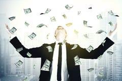 有美元金钱的男性经理 免版税库存图片