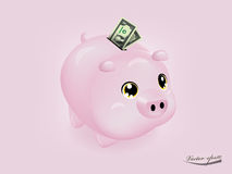 有美元金钱纸的桃红色存钱罐 免版税库存图片