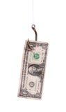 有美元附注的鱼钩 库存照片