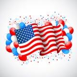 有美国国旗的五颜六色的气球 库存图片