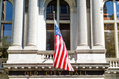 有美国国旗的耶路撒冷旧城霍尔 免版税图库摄影