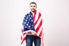 有美国国旗的年轻英俊的人 免版税库存图片