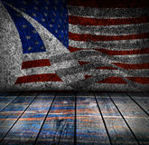 有美国国旗颜色的空的内部室 库存图片