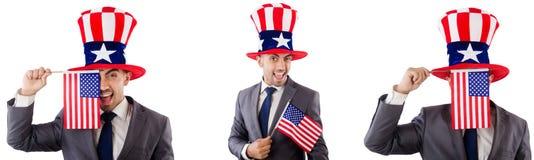 有美国帽子和旗子的人 免版税库存照片