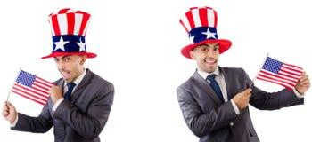 有美国帽子和旗子的人 图库摄影