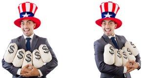 有美国帽子的人有富翁的 库存图片