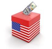 有美国旗子和美元的投票箱 库存图片