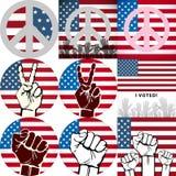 有美国旗子的ArtVote别针 库存照片
