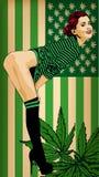 有美国旗子绿色的俏丽的妇女色 赤裸的行程 蓝色云彩图象彩虹天空向量 与大麻叶子的美国旗子绿色 向量例证