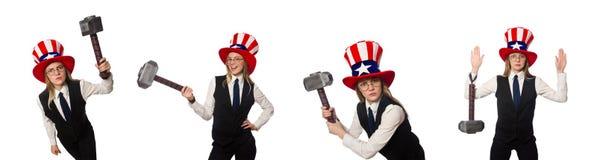 有美国标志的妇女佩带的帽子 库存图片