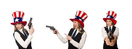 有美国标志的妇女佩带的帽子 图库摄影