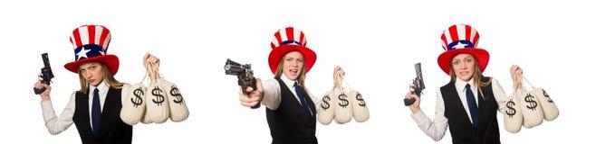 有美国标志的妇女佩带的帽子 免版税库存照片