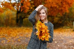 有美好的微笑的快乐的俏丽的年轻愉快的妇女在有秋叶花束的一件典雅的灰色外套在公园摆在 库存图片