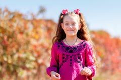 有美妙的微笑的美丽小女孩和愉快在summ 库存图片