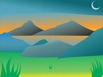 有美妙的日出的Mountain湖 库存照片