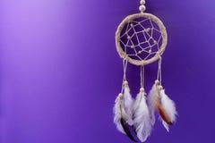 有羽毛的梦想俘获器在紫色背景 库存照片