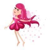 有翼、长的头发和礼服的美丽的神仙在火花例证围拢的一黑暗桃红色颜色飞行 免版税库存图片