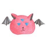 有翼和三只眼睛的红色妖怪,画铅笔 免版税库存图片