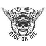 有翼的竟赛者头骨 骑自行车的人力量 乘坐或死 设计要素例证图象向量 库存例证