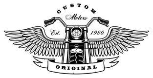有翼的葡萄酒摩托车在白色背景 库存图片