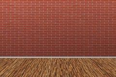 有老木地板的老砖墙 背景老空间 免版税库存照片