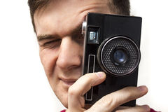 有老照相机的人 库存照片