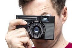 有老照相机的人 免版税库存图片