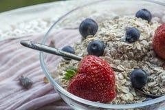 有老茶匙、谷物、草莓和蓝莓的一个玻璃碗 免版税库存图片