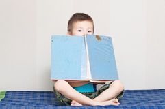 有老葡萄酒童话书的男孩 免版税库存照片