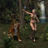 有老虎的妇女战士 免版税库存照片