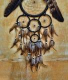 有老鹰和掠夺的梦想捕手在橙色结构墙壁上用羽毛装饰 库存图片