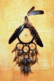 有老鹰和掠夺的梦想捕手在橙色结构墙壁上用羽毛装饰 免版税库存图片