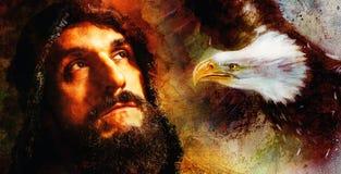 有老鹰的考虑他的下次冒险的,抽象水彩样式背景英俊的战士 免版税库存图片