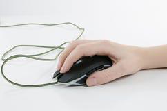 有老鼠的手 免版税图库摄影