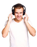 有耳机的人 免版税库存照片