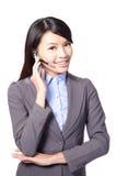 有耳机的女性客户支持运算符 免版税库存图片