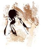 有耳机的少年在grunge背景 库存图片