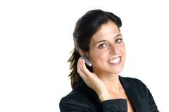 有耳机的电话中心操作员 免版税库存图片