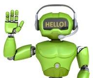 有耳机的逗人喜爱的机器人 免版税库存图片
