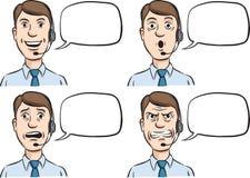 有耳机的顾客服务人和讲话起泡 皇族释放例证