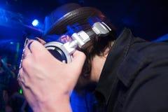 有耳机的DJ 免版税库存照片