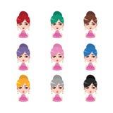 有耳环的- 9种不同头发颜色端庄的妇女 免版税库存照片