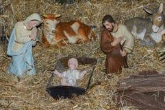 有耶稣约瑟夫和玛丽的圣诞节托婴所 库存图片