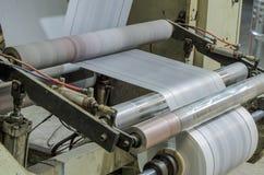 有聚乙烯的机器塑料袋的生产的 库存照片