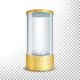 有聚光灯和火花的空的玻璃陈列室指挥台 展览的圆的金空白和展示您的产品 传染媒介现实不适 皇族释放例证