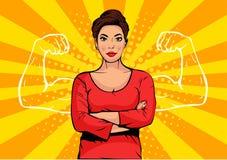 有肌肉流行艺术减速火箭的样式的女实业家 在可笑的样式的强的商人 库存图片